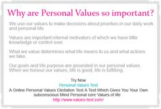 Why are Values so important ? We use our values to make decisions about priorities in our daily work and personal life. Find Out your Own Personal Values Elicitation Test http://www.values-test.com/
