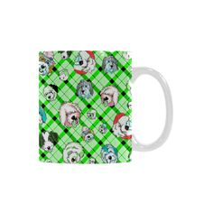 Plaid Sheepies-CRAZY Green White Mug(11OZ)