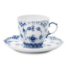 Blue Fluted Full Lace Teacup/saucer Royal Copenhagen