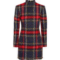 Balmain Tartan tweed mini dress (26.885 NOK) ❤ liked on Polyvore featuring dresses, balmain, vestidos, plaid, short dress, plaid dress, plaid mini dress, blue dresses, long-sleeve mini dress and blue plaid dress