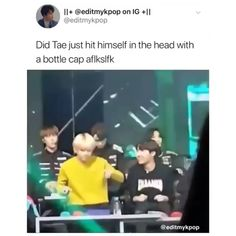 But the timing is perfect. When the cap hit tea's head there is the bang bang😂😂😂😂😍🤩🤩 Bts Bangtan Boy, Bts Taehyung, Bts Boys, Bts Funny Videos, Bts Playlist, About Bts, Kpop, I Love Bts, Bang Bang