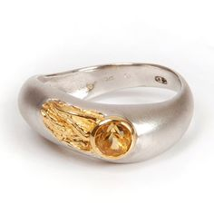 Silver gold stone ring