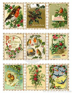 Set of nine vintage Christmas bird holly stamps by Jodielee, via Dreamstime