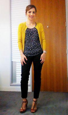 30 for 30 day 17: polka dots, pants, cardigan.