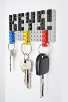 16 Key Holders To Keep You Organized // This creative lego key holder brings back childhood memories and adds a touch of playfulness to your decor.