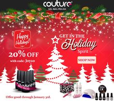 Happy Holidays! Get 20% off now through January 3rd, 2014 with #couturegelnailpolish