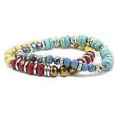 Mix de pulseiras ajustáveis com madeira e cristais coloridos