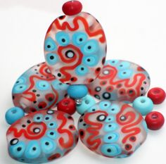 Set of 15 Etched Flat Oval Beads and Spacer  от GlassNatalyaDarlin