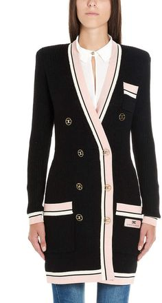 Shop Elisabetta Franchi Celyn B. Cardigan and save up to EXPRESS international shipping! Black Cardigan, Long Cardigan, Dress Up, Men's Jackets, Blazer, Wool, Boutique, Sweaters, Shopping