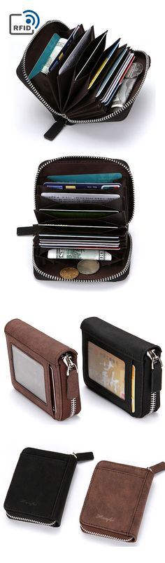 【$ 9.40】 RFID Antimagnetic Pu Leather Wallet 10 Card Holders Coin Bag For Men