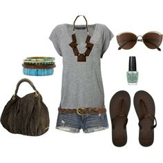 CUTE - Click image to find more Women's Fashion Pinterest pins: Casual Outfit, Outfit Idea, Casual Summer, Summer Style, Dream Closet, Spring Summer, Summer Outfits, Grey Brown, Longer Shorts