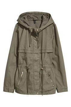 Short Parka with Hood - Khaki green - Ladies Hooded Parka, Parka Coat, Green Coat, Khaki Green, Comfy Fall Sweaters, H&m Shorts, Maternity Jeans, Raincoat, Autumn Fashion