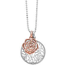 Dower & Hall Wild Rose Flower Disc Double Pendant Necklace, Silver/Rose Gold
