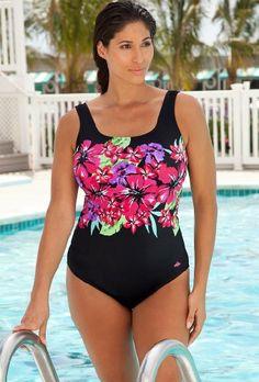 74da487e675a9 Aquabelle Chlorine Resistant! Tropical Plus Size Swimsuit Plus Size Swimsuit  « Clothing Impulse Swimsuits For