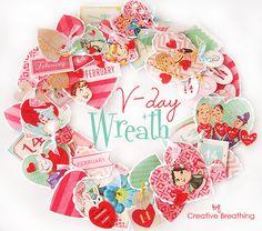 Pretty DIY: Vintage Valentine Wreath   Free Vintage Valentine Cards!