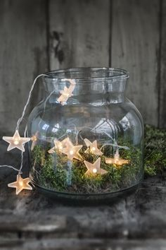 Chunky vase with moss & battery star lights, beautiful.