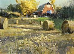 Late Summer Harvest by Mike Wise Oil ~ x Farm Paintings, Scenery Paintings, Landscape Art, Landscape Paintings, Landscapes, Pallets Garden, Old Barns, Hay Bales, Creative Art