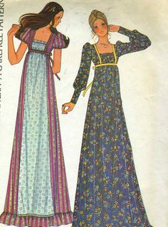 1970s McCalls 3898 Misses Empire Waist Maxi Dress with Gathered Bodice Sewing Pattern Size 12 Bust 34