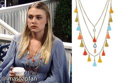 I'm a Soap Fan: Kiki Jerome's Layered Multicolored Tassel Necklace - General Hospital, Season 54, Episode 07/15/16, Hayley Erin,  #GH Fashion, Clothes worn on #GeneralHospital