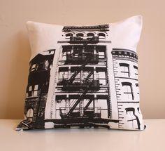 New York City Pillow - Urban Throw Style no3 - Black - 16 x 16. $35.00, via Etsy.
