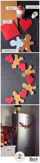 Festone natalizio in feltro, con omino di pan di zenzero (gingerbread man)