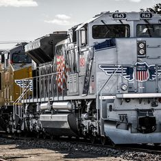 UP No. 1943 The Spirit outside Jenks Shop in North Little Rock Oct. 24, 2017. The Spirit spotlights Union Pacific's relationship with thousands of veterans who helped build America after defending the United States – a tradition dating back to the company's founding. Go to UP.com to find out more and see where the locomotive will be displayed during the Salute to the Military Tour. Photo by Union Pacific Electrician Greg Davis.