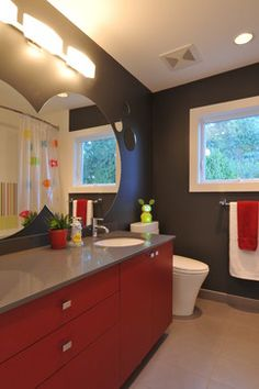 gray and red bathrooms | Bathroom red and grey Design Ideas, Pictures, Remodel and Decor