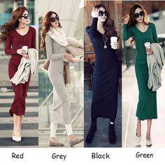 >> Click to Buy << vestidos Hot sale Ladies Elegant winter dress 2017 new fashion Sexy slim long sleeve Mid-calf Women clothing plus size S-3XL #Affiliate