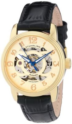 Stuhrling Original Women's 107EL.113531 Classic Oracle Gold Tone Automatic Skeleton Gold Tone Watch Stuhrling Original. $99.00. Yellow gold layered case with triple step design bezel. Water-resistant to 165 feet (50 M). Protective Krysterna crystal on front and back. Set includes interchangeable black and brown alligator embossed genuine leather straps. Goldtone skeleton dial with goldtone markers