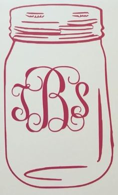 Mason Jar Monogram Decal by CountryCottageGC on Etsy