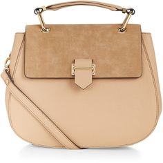 Accessorize Jodie Saddle Bag ($59) ❤ liked on Polyvore featuring bags, handbags, shoulder bags, faux leather purse, faux leather shoulder bag, faux-leather handbags, zipper handbag and beige purse