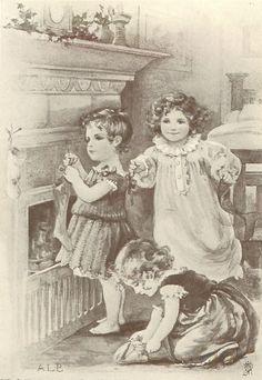 "Antique Christmas Postcard, ""Hanging the Christmas Stocking""."