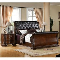Enitial Lab Luxury Brown Cherry Leatherette Baroque Style Sleigh Bed with Nightstand Bedroom Set
