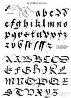 This Blackletter alphabet has been written in the Batarde style which takes up only three stroke widths, making the letters shorter and fatter. Tattoo Lettering Fonts, Graffiti Lettering, Lettering Styles, Creative Lettering, Lettering Design, Hand Lettering, Gothic Lettering, Calligraphy Tutorial, How To Write Calligraphy