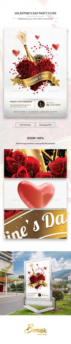 Valentines Day Party Flyer Template — Photoshop PSD #poster template #poster • Available here → https://graphicriver.net/item/valentines-day-party-flyer-template/14368114?ref=pxcr