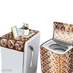 Appliance Covers Polyester Washing machine & Fridge Covers Material:Washing Machine Cover :  Polyester Fridge Cover : Polyester  Model: Fully Automatic (Top Loaded) 6 kg To 7 kg Model Size : Washing Cover : 23 in x 22 in x 35 in  Fridge cover : 37 in x 21 Description: It Has 1 Piece Of washing Machine Cover With 1 Piece Of Fridge Cover Work: Printed Country of Origin: India Sizes Available: Free Size   Catalog Rating: ★4.1 (2210)  Catalog Name: Useful Polyester Washing machine & Fridge Covers Combo Vol 2 CatalogID_319924 C131-SC1624 Code: 582-2391923-336