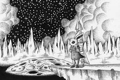 Pen and Ink drawing - Travel to the moon world by T-KONI