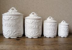 antique canister sets | Vintage canister set Antique white with ornate by RosyBluVintage