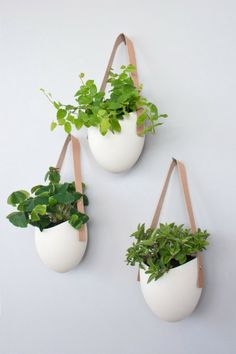 Porcelain & Leather Hanging Planters
