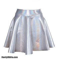 lychee Holographic Hologram Shiny Metallic Silver Flared Pleated Skater Skirt Dress Stylish Formal Skirts for Women To Wear To Office Holographic Dress, Holographic Fashion, Silver Metallic Dress, Silver Skirt, Space Girl Kostüm, Flare Skirt, Flare Dress, Top Y Pollera, Alien Halloween Costume
