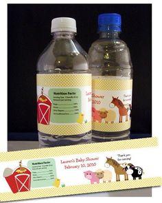 12 EIEIO Barnyard Water Bottle Favors  Baby by AllPetsCherished, $14.95