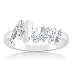 MOTHERS DAY SPECIAL!! Prong Diamond MOM Charm Ring 14kt White Gold Jewelry #Mother #Ring