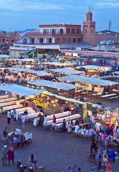 Djemaa el-Fna market in Marrakesh, Morocco