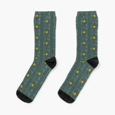 My Socks, Crew Socks, Floral Socks, Designer Socks, Witch, Smile, Printed, Awesome, Green