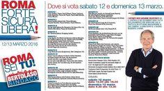 Oggi (dalle 10 alle 18) e domenica 13 marzo (dalle 9.30 alle 13.30) Guido Bertolaso nei gazebo su tutta Roma. Ecco come e dove clicca qui http://media2.corriere.it/corriere/pdf/2016/bertolaso-dove-votare.pdf