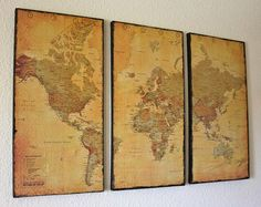 DIY World Map Canvases.. been meaning to do this for my 'pin in the map' map i've had rolled up for years. Could never find the right background. Canvas~ perfect.