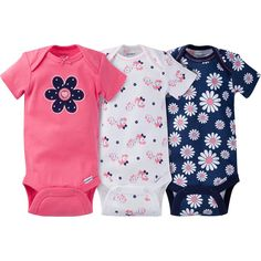 8caa3ddd2 3-Pack Girls Daisy Onesies® Brand Short Sleeve Bodysuits Gerber Onesies, Gerber  Baby