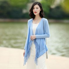 1949f03cbd 2017 100% Cashmere Knitted Cardigan Women's Long Sleeve Solid Color Tassel  Open Sweater Spring/