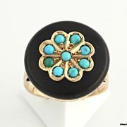 Genuine Onyx & Turquoise Victorian Cocktail Ring - 14k Yellow Gold c.1890s-1900s