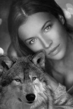 Softly Peace Wolf Photos, Wolf Pictures, Animals Images, Cute Animals, Wolves And Women, Werewolf Art, Native American Beauty, Wolf Love, Fantasy Art Women
